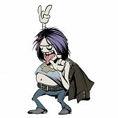 Rock Music Fan Character. Cartoon Vector Illustration