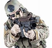 United States Army ranger with grenade launcher