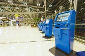 BANGKOK, THAILAND - NOV 07: check-in self service terminals on November 07, 2014. Suvarnabhumi Airport is one of two international airports serving Bangkok.