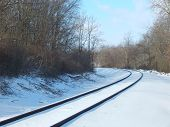 snow covered railroad track