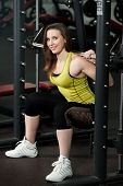 Girl In Powerlifting Squat Position Lifts Weights