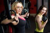 Two Girls Do Weight Training In Fitness Center