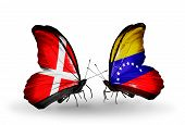 Two Butterflies With Flags On Wings As Symbol Of Relations Denmark And Venezuela