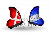 Two Butterflies With Flags On Wings As Symbol Of Relations Denmark And Honduras