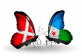 Two Butterflies With Flags On Wings As Symbol Of Relations Denmark And Djibouti