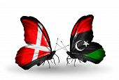 Two Butterflies With Flags On Wings As Symbol Of Relations Denmark And  Libya