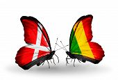 Two Butterflies With Flags On Wings As Symbol Of Relations Denmark And  Mali