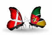 Two Butterflies With Flags On Wings As Symbol Of Relations Denmark And Mozambique