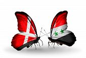 Two Butterflies With Flags On Wings As Symbol Of Relations Denmark And Syria