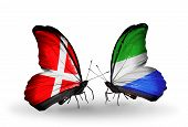 Two Butterflies With Flags On Wings As Symbol Of Relations Denmark And Sierra Leone
