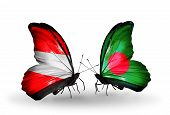 Two Butterflies With Flags On Wings As Symbol Of Relations Austria And Bangladesh