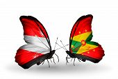 Two Butterflies With Flags On Wings As Symbol Of Relations Austria And Grenada