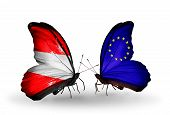 Two Butterflies With Flags On Wings As Symbol Of Relations Austria And Eu