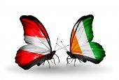 Two Butterflies With Flags On Wings As Symbol Of Relations Austria And Cote Divoire