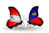 Two Butterflies With Flags On Wings As Symbol Of Relations Austria And Liechtenstein