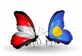 Two Butterflies With Flags On Wings As Symbol Of Relations Austria And  Palau