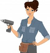 Illustration of a Woman Holding an Electric Drill