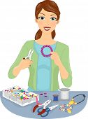 Illustration of a Woman Making Homemade Jewellery