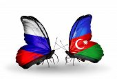 Two Butterflies With Flags On Wings As Symbol Of Relations Russia And  Azerbaijan