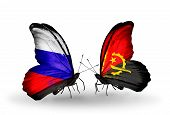 Two Butterflies With Flags On Wings As Symbol Of Relations Russia And Angola