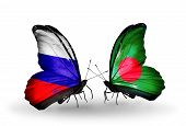 Two Butterflies With Flags On Wings As Symbol Of Relations Russia And Bangladesh