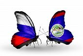 Two Butterflies With Flags On Wings As Symbol Of Relations Russia And Belize