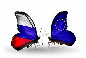 Two Butterflies With Flags On Wings As Symbol Of Relations Russia And Eu
