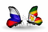 Two Butterflies With Flags On Wings As Symbol Of Relations Russia And Zimbabwe