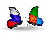 pic of eritrea  - Two butterflies with flags on wings as symbol of relations Russia and Eritrea - JPG