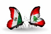 Two Butterflies With Flags On Wings As Symbol Of Relations Mexico And Lebanon