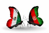 Two Butterflies With Flags On Wings As Symbol Of Relations Mexico And Afghanistan