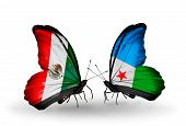 Two Butterflies With Flags On Wings As Symbol Of Relations Mexico And Djibouti