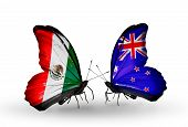 Two Butterflies With Flags On Wings As Symbol Of Relations Mexico And  New Zealand