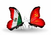 Two Butterflies With Flags On Wings As Symbol Of Relations Mexico And Soviet Union