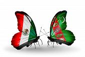 Two Butterflies With Flags On Wings As Symbol Of Relations Mexico And Turkmenistan