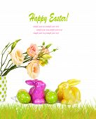 Easter Eggs, Bunnies And Fun Bouquet Of Flowers Isolated On White Background