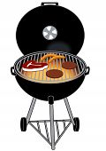 stock photo of hamburger-steak  - A BBQ GRILL WITH STEAK HOTDOG HAMBURGERS - JPG