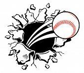 Baseball Busting Wall