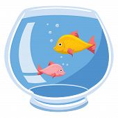 picture of fishbowl  - An Illustration of a fishbowl with two fish and bubbles - JPG