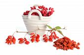 Porcelain Basket With Berberries Near Heap Of Goji Berries  Isolated On White Background