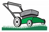 image of grass-cutter  - An Illustration of a Lawn mower on the grass - JPG