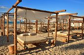 Sand Suny Beach With Suspended Beds