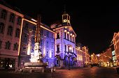 Ljubljana's Town hall and Robba, fountain, decorated for Christmas and New Year's holidays, Ljubljan