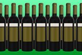 Wine Bottles With Green Background