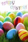 Many Colorful Easter Eggs On Green Grass With Text Happy Easter