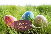 Happy Easter Background With Colorful Eggs And Label With German Text Frohe Ostern