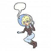 cartoon space woman with speech bubble