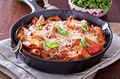 pic of whole-wheat  - Pasta bake with whole wheat penne, tomatoes and mozarella