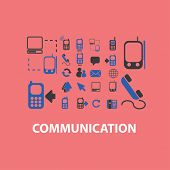 communication, network, connection icons, signs, illustrations, silhouettes set, vector