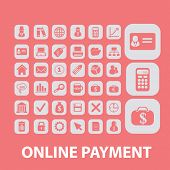 online payment, atm, online-money icons, signs, illustrations, silhouettes set, vector